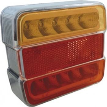 LANTERNE 4 FONCTIONS CARREE A LEDS ORANGE ROUGE