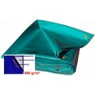 BACHE 24m2 630gr/m² COULEUR GRIS/VERT / dimension 6 x 4m