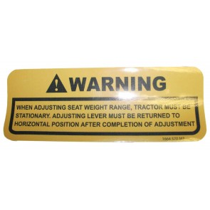 Autocollant MF 500 - Réglage du siège