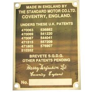 Badge brevet déposé Tracteur Ferguson