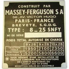 Badge tracteur de série numéro MF 135 français