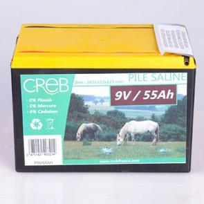 PILE SALINE CLOTURE 9V/55AH POUR ELECT