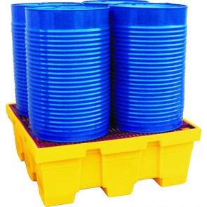 Bac de rétention pour 4 fûts caillebotis métal avec revêtement plastique